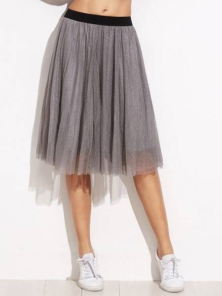 Picture of Contrast Sheer Mesh Elastic Waist Skirt - Grey