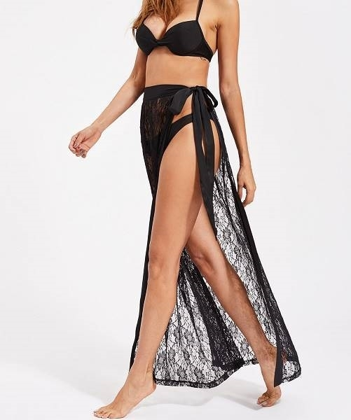 Picture of Beach Satin Trim Self Tie Cover Up Lace Skirt