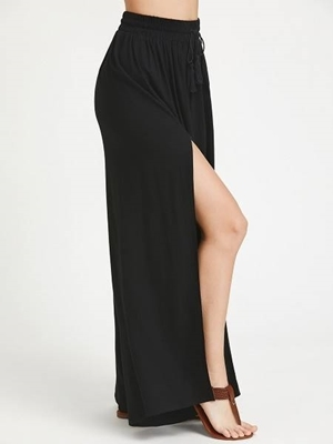 Picture of Drawstring Smocked Waistband Side Slit Palazzo Pants