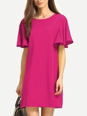 Picture of Casual Flutter Sleeve Tunic Shift Dress