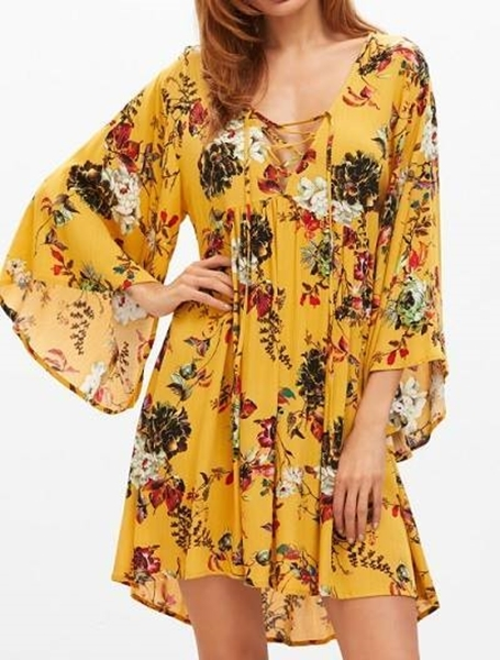 1193f14dfc1 Previous Previous. Next Next. Picture of Lace Up flower print Plunge Neck  Bell Sleeve Dress ...