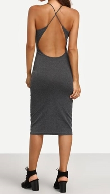 Picture of Grey Crisscross Backless Sleeveless Sheath Dress