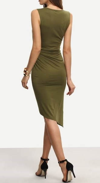 Picture of Army Green Sleeveless Knot Sheath Dress