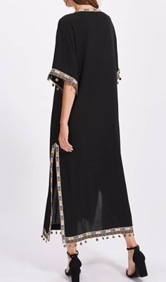 Picture of Embroidered Tape And Coin Fringe Trim Side Slit Maxi Long Dress -