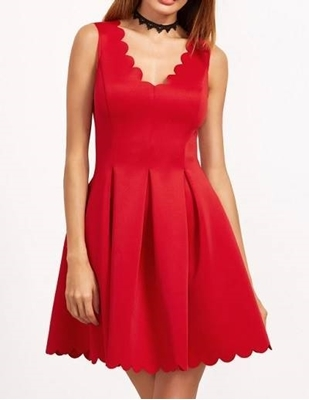 Picture of Double V Neck Box Pleated scallop Edge Skater Dress Red