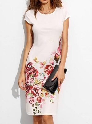 Picture of Cap Sleeve A Line White Rose Print  Dress