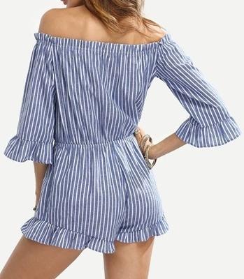 Picture of Blue Striped Off The Shoulder Ruffle Jumpsuit