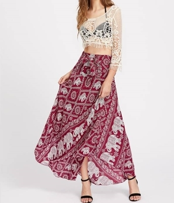 Picture of Bohoo Elephant Print Bow Tie Detailed Maxi Skirt