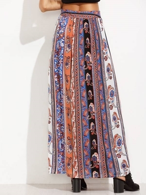 Picture of Paisley Print Split Front Skirt