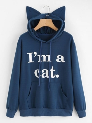 Picture of Cat Ear Slogan Slim fit Print  Hoodie