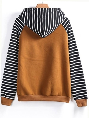 Picture of Contrast Raglan Sleeve Hooded Striped Sweatshirt