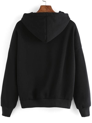 Picture of Black Gesture Print Drop Shoulder Hooded Sweatshirt
