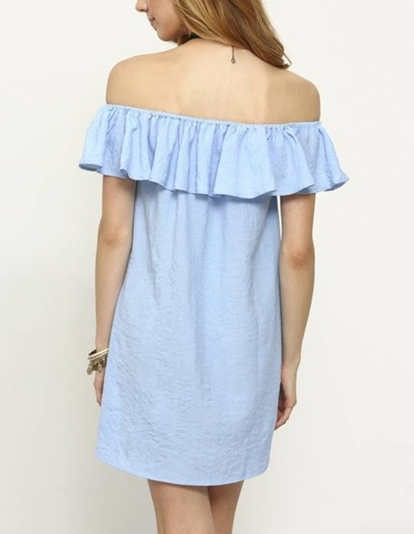 Picture of Flounce Off-The-Shoulder Dress - Blue