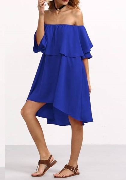 Picture of Royal Blue High Low Ruffle Bardot Dress