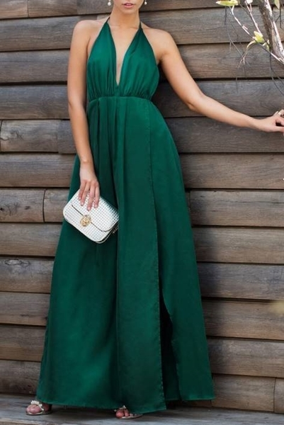 Picture of Plunge Neck Crisscross Back High Slit Wrap Cami dress