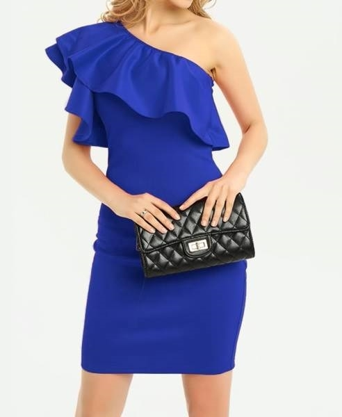 Picture of One Shoulder Frill Trim Bodycon Party Dress