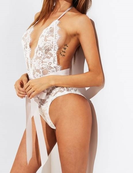 Picture of Self Tie Open Back Lace Teddy