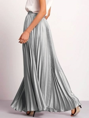 Picture of Flare Pleated Silver Side Zipper Maxi Skirt