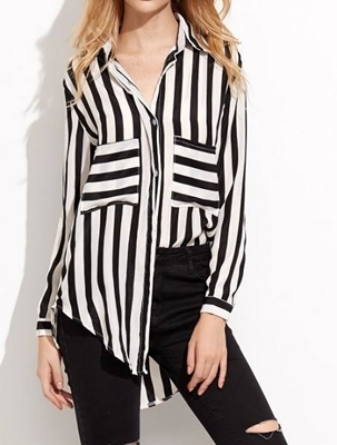Picture of Contrast Striped Pockets High Low Shirt