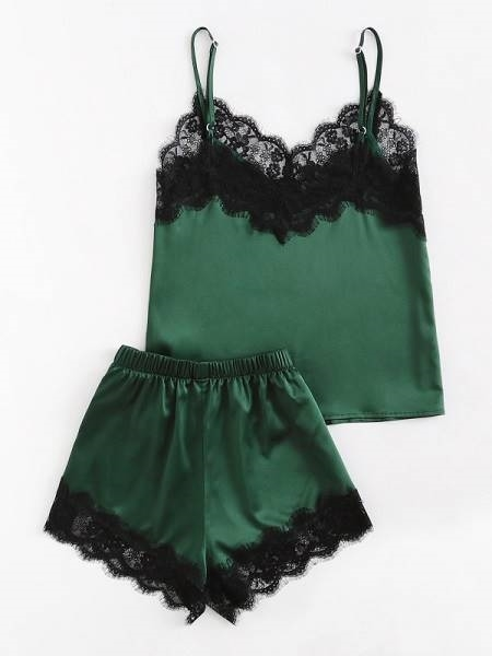 Picture of Lace Trim Satin Cami And Shorts Pajama Set