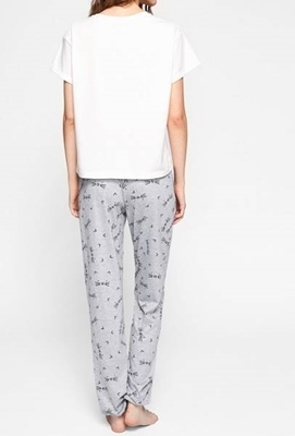 Picture of Cat Pattern Print Top And Pants Pajama Set