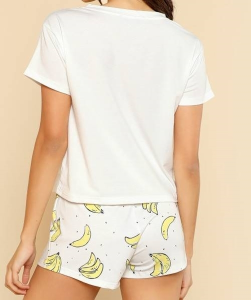 Picture of Banana Print Pocket Front Top With Shorts Pajama Set