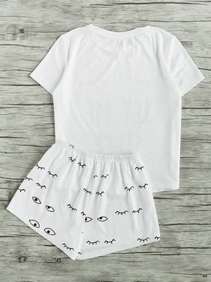 Picture of Closed Eyes Print Tee And Shorts Pajama Set