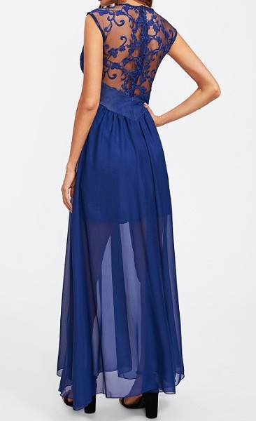 Embroidered Mesh Bodice Wide Waistband Dress