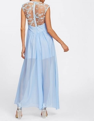 Picture of Embroidered Mesh Bodice Wide Waistband Dress - Light Blue