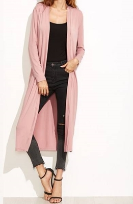 Picture of Pink Collarless Longline Duster Coat
