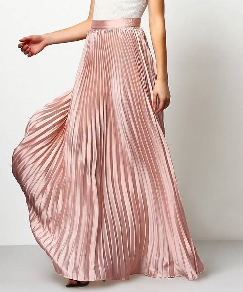 Picture of Pink Pleated Maxi Skirt
