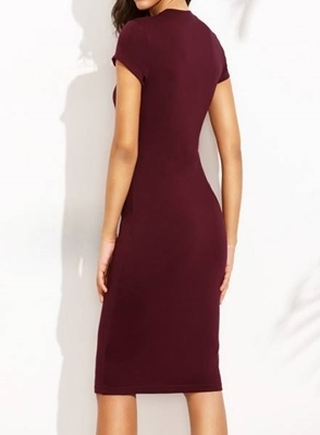 Picture of Burgundy Crew Neck Sheath Dress