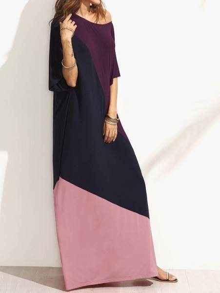 Picture of Asymmetric Shoulder Side Slit Cut And Sew Tee Dress