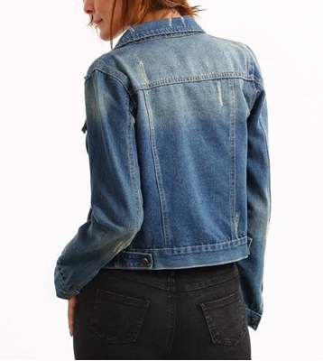 Picture of Dual Flap Stone Wash Blue Denim Jacket