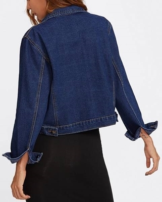 Picture of Dual Pocket Cropped Denim Jacket
