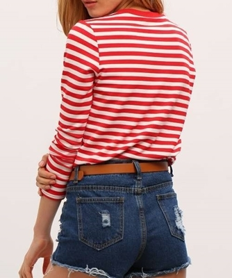 Picture of Long Sleeve Striped T-Shirt Red White