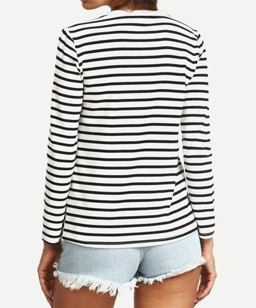 Picture of Crew Neck Striped Long T-Shirt