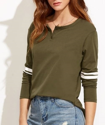 Picture of Button Neck Striped T-shirt