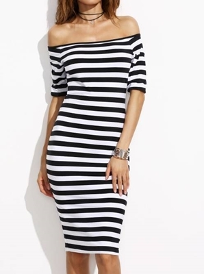Picture of Bardot Two Tone Striped Pencil Dress