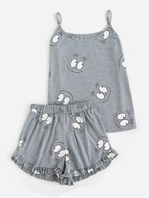 Picture of Cartoon Print Frill Trim Cami Pajama Set for Women