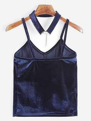Picture of Cami Velvet Top With Choker - Blue