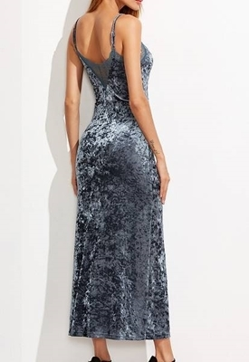 Picture of Blue Grey Lace Trim High Slit Front Crushed Velvet Cami Dress