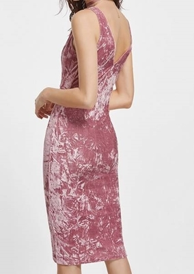 Picture of Double V Neck Pink Sleeveless Crushed Velvet Dress