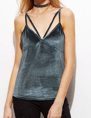 Picture of Grey Strappy Velvet Cami Top
