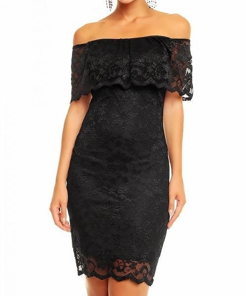 Picture of Aerial Bardot lace dress - Black