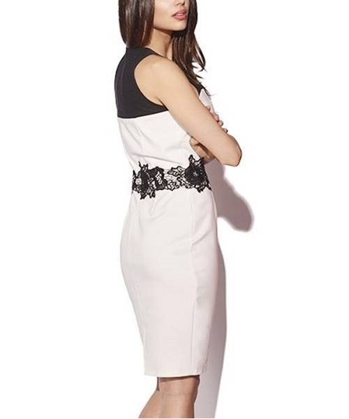 Picture of Black and white crotchet lace detail dress