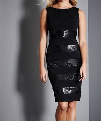 Picture of Black sequin insert cocktail dress