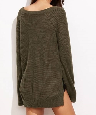 Picture of Lace Up V Neck High Low Sweater