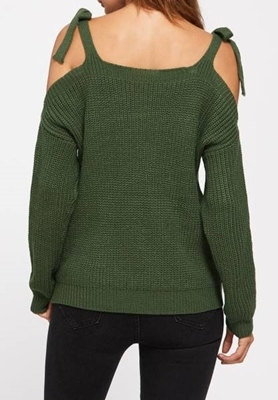 Picture of Cold Self Tie Shoulder crop Jumper