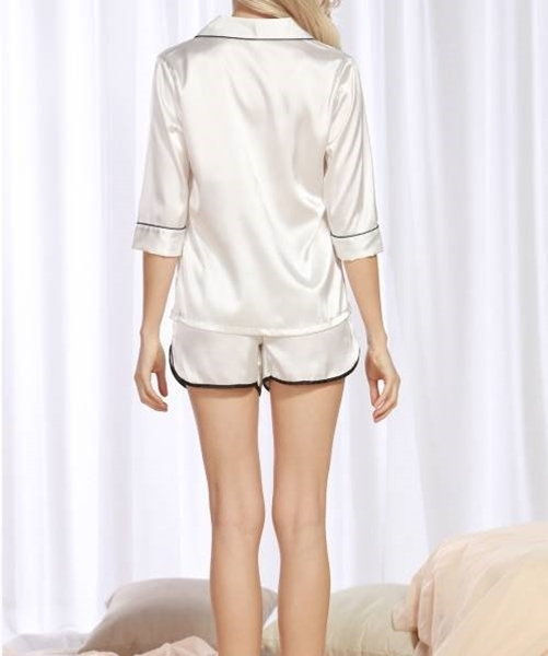 Picture of Satin Contrast Binding Shirt & Dolphin Shorts Set